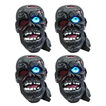 (4 Pack) Solar Powered Outdoor Zombie Pirate Head Halloween Fright Light