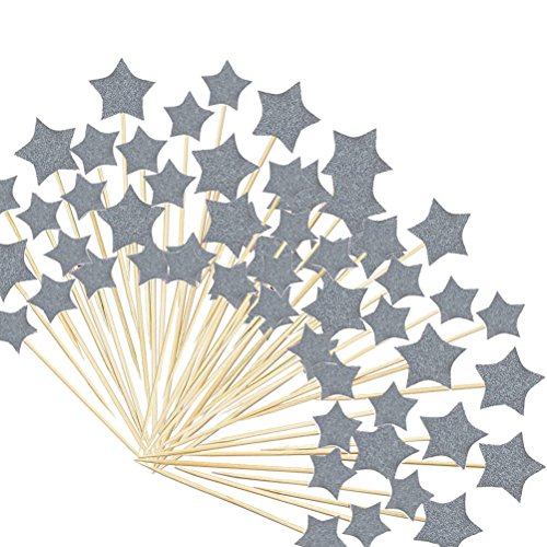 TableRe 108 Pack Silver Glitter Stars Cake Toppers Gold Stars Twinkle Twinkle Little Star Decorations by TableRe