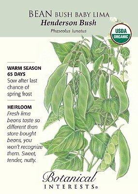 - Henderson Bush Baby Lima Bean Seeds - 15 g - Organic