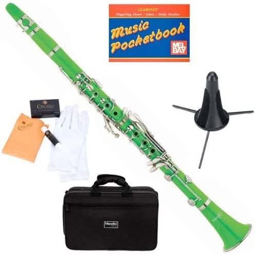 B005CXMP44 Mendini MCT-G+SD+PB Green ABS B Flat Clarinet with Case, Stand, Pocketbook, Mouthpiece, 10 Reeds and More 51u6ZX4gVsL