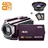 Camcorder,Yolife 4K Ultra HD Digital Video Camera Recorder with Wide Angle Lens,30FPS Wifi Camcorder with Night Vision,3.0'' LCD 270 Degree Touchscreen and 2 Rechargeable Batteries(Purple)