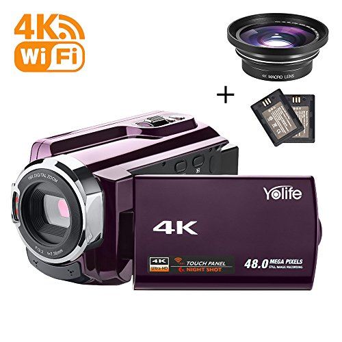 Camcorder,Yolife 4K Ultra HD Digital Video Camera Recorder with Wide Angle Lens,30FPS Wifi Camcorder with Night Vision,3.0'' LCD 270 Degree Touchscreen and 2 Rechargeable Batteries(Purple) by Yolife