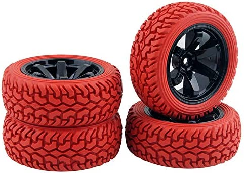 RC 701-8019 Rubber Tires & Plastic Wheel 4Pcs For HSP HPI 1:16 O