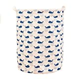 Love The Worder Linen Folding Waterproof Laundry Basket Covered Storage Baskets Or Toy Basket (Beige(Whale))