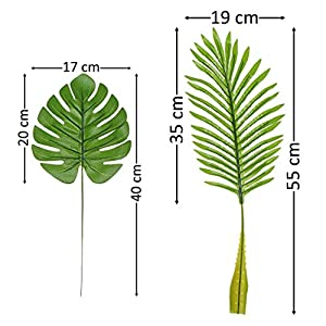 Artificial Palm Leaves with Stem and Tropical Philodendron Monstera Fronds Party Decorations Faux Palm Tree Plant Leaf Fake Imitation Ferns Branches Home Kitchen Plastic Decor 20 Pieces AF49 5