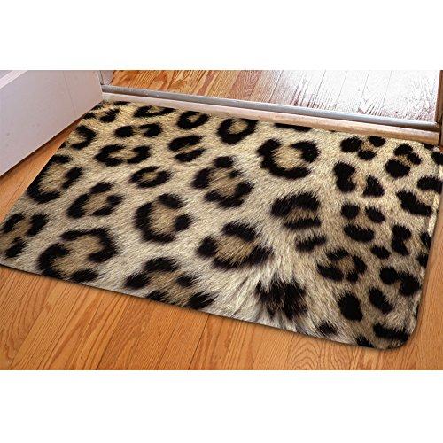 INSTANTARTS Cool Leopard Print Entrance Floor Rug Non-Slip Flannel for Bedroom Bathroom Kitchen (Rug Leopard Bathroom)