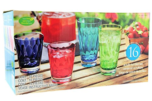 16Pc Acrylic Tumbler Set Multi Color 8-14oz and 8-21oz