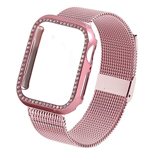 INTENY Compatible for Apple Watch Band 44MM with Screen Protector, Stainless Steel Mesh Strap with Silicone Protective Crystal Diamond Case Compatible for iWatch Series 4/3/2/1 (Rose Gold, 44mm)