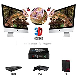 SOWTECH 4K HDMI Splitter 1X2 Signal Distributor Support 4K Ultra HD 1080P and 3D (One Input To Two Outputs)
