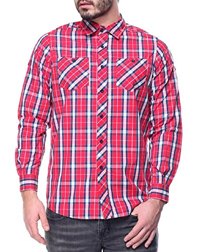 - Akademiks Men's Red Large Plaid Long Sleeve Button-Down Shirt