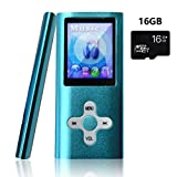 Lonve MP3 Player MP4 Player 16GB Portable Media Music Player with FM Radio Voice Recorder Supporting MP3 WMA WAV Perfect for Kids Sports Blue