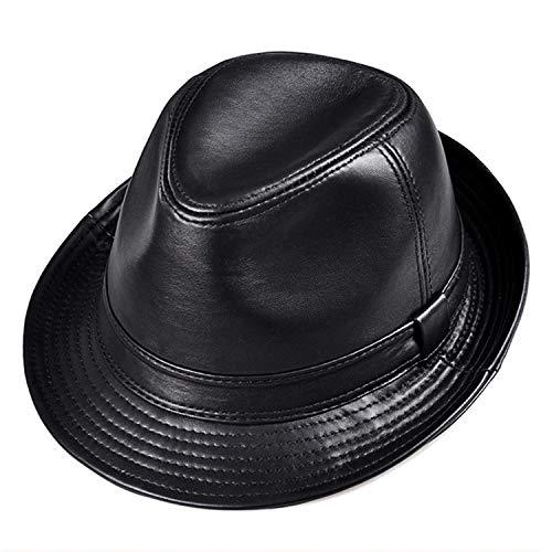 - Winter Genuine Leather Wide Brim Stetson Fedoras British Hats Gentman Black 55-61cm Fitted Jazz Hip-Pop Men Women