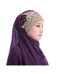 Lina & Lily Heavy Chiffon Muslim Hijab Shawl Gold Glitters Beads