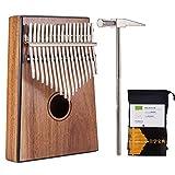 Kalimba Mbira Sanza 17 Keys Thumb Piano Portable Pocket Size Beginners Friendly Solid Finger Piano Solid KOA Wood Body Ore Metal Tines with Black Border Design