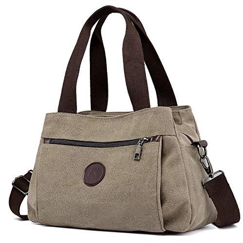 DOURR Hobo Handbags Canvas Crossbody Bag for Women, Multi Compartment Tote Purse Bags (Khaki)