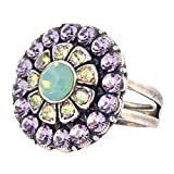 """Mariana Flower Adjustable Ring, """"Pina Colada"""" Silver Plated 7131/1 1063"""