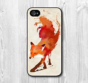 New Fashion Design Watercolor Fox Pattern Protective Hard Phone Cover Skin Case For iPhone 4 4s +Screen Protector