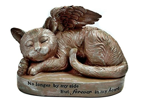 Bellaa 29684 Sleeping Cat with Angel Wings Garden Statue Memorial Pet