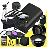 Canon EOS 70D DSLR Camera with 18-55mm STM f/3.5-5.6 Lens LP-E6 Lithium Ion Replacement Battery + 58mm 3 Piece Filter Kit + Full Size Tripod + 58mm Macro Close Up Kit + 58mm 2x Telephoto Lens + 58mm Wide Angle Lens + Carrying Case + External Flash + Mini