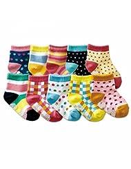 Fonkey Pack of 10 Baby Girls Infant Ballet Ballerina Socks Anti Slip