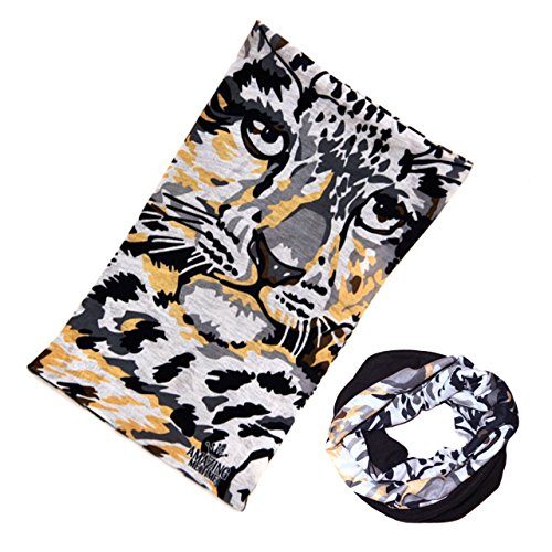 12-in-1 Reversible Bandana Scarf Multifunctional Headwear as Face Cover Balaclava Head Wrap Over Ear Headband for Women No Slip Super Soft Comfortable Fabric - (Leopard on my - Face What's On My