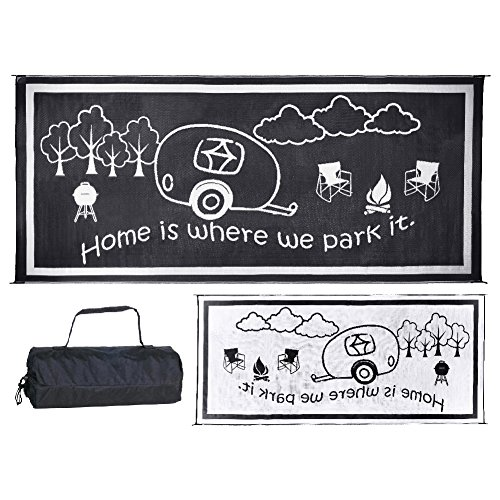 Stylish Camping RH8181 Black/White 8-Feet x 18-Feet RV Home Mat