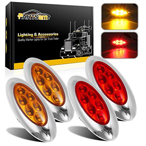 "Partsam 4 Pcs 4-1/3"" Red/Amber Led Oval Side Marker Lights with Chrome Bezel, Oval led Trailer Marker Lights, Trailer Parking and Turn Signal Lights, Aux Stop Turn Tail Brake Lights"