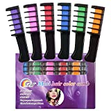 Hair Chalk - Metallic Glitter Temporary Hair Color - Edge Chalkers - No Mess - Built in Sealant - Works on All Hair Colors - Color Essentials Set (6 Count) By SySrion (6 colors)