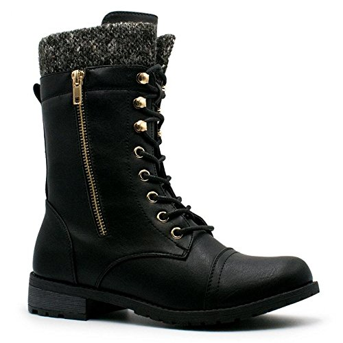 Forever Link Womens Mango-31 Round Toe Military Lace Up Knit Ankle Cuff Low Heel Combat Boots Black 8.5