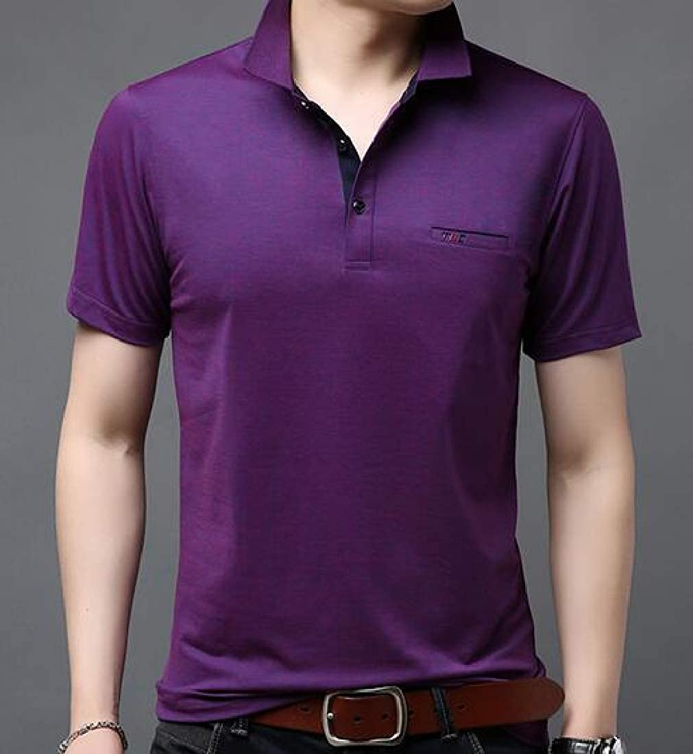 Cromoncent Mens Solid Polos Shirt Short Sleeve Top Basic Tee T-Shirt