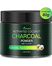 MayBeau Teeth Whitening Powder FDA Approved Natural Activated Charcoal Teeth Whitener Large Capacity 2.8 Ounce Mint Flavor Coconut Charcoal Teeth Whitener for Removing Stains and Refreshing Breath