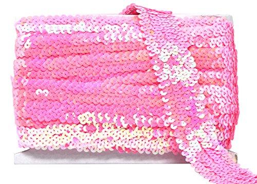 Mandala Crafts Elastic Sequin, Flat Glitter Stretch Bling Paillette Fabric Ribbon, Metallic Appliqué Trim Lace for Dress Embellish, Headband (1.5 Inches, Pink)