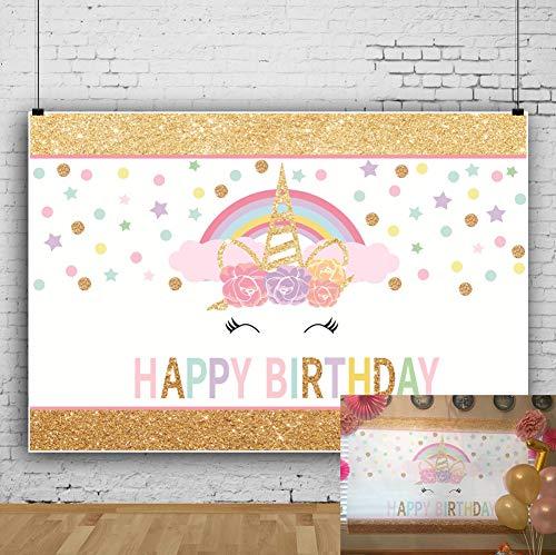 OFILA Girls Unicorn Birthday Backdrop 5x3ft Unicorn Birthday Backdrop for Girls Glitters Stars Cake Smash Background Girls Birthday Party Decoration Happy Birthday Background Birthday Photobooth Props