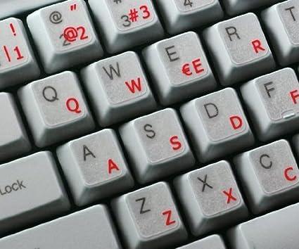 Pegatinas teclado español transparentes con letras AZULES: Amazon.es: Electrónica