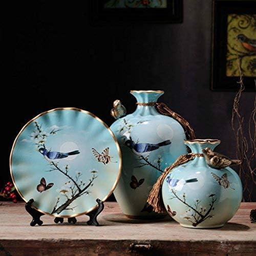 NEWQZ Ceramic Vase Set of 3 Pcs for Living Room Decoration, Blue Vases Set