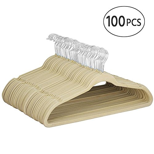 Yaheetech 100pcs Premium Quality Velvet Hangers Hold Up To 11 Lbs,Beige