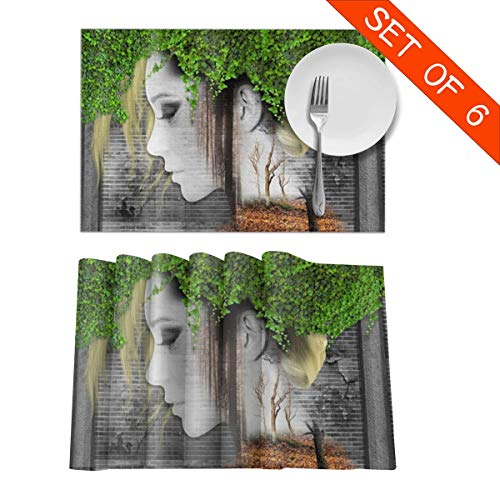 DerdYoaa Beautiful Girl Woman Ethnic Themed Vines Leaves Placemats Set of 6 for Dining Table Washable Placemat Non-Slip Kitchen Table Mats 12 X 18 Inches (Girl Jocker Toddler)