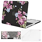 Mosiso Plastic Pattern Hard Case with Keyboard Cover with Screen Protector Only for MacBook Pro Retina 13 Inch No CD-Rom (A1502/A1425, Version 2015/2014/2013/end 2012), Peony