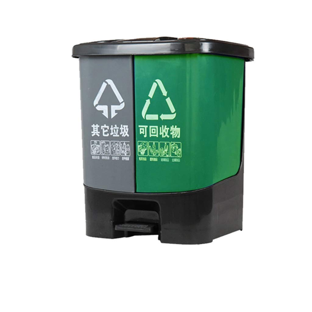 Kffc Big Trash Can,Foot Open Cover,Can Be Hung On The Car,30/50/80 Litre, Gray&Green (Size : 30 L)