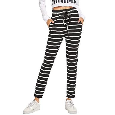 wyxhkj Pantalones Mujeres, Pantalones Largos Punto De Rayas ...