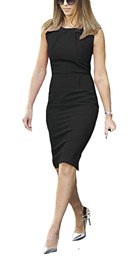 REPHYLLIS Women Neckline Ruched Working Casual Cocktail Prom Party Pencil Dress