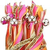 Gleader 5 x Baguette Baton Magique Fee avec Ruban Deco pour Mariage Fete ROSE+ORANGE