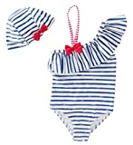 Baby Kids Girl One Piece Swimsuit Floral Ruffle Swimwear Bathing Suits With Hat Size 4-5Years/Tag 6 (Blue)