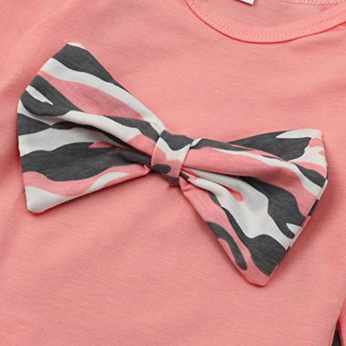 Omiky® Neugeborene Kleinkind Baby Mädchen Jungen Tarnung Bogen Tops Hosen Outfits Set Kleidung Rosa