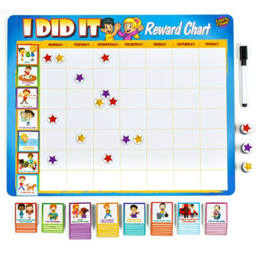 Learn amp Climb Toddler Chore Chart  63 Behavioral Chores as Potty Train Behavior amp More quotThick Magneticquot Reward Chart Board/Tasksfor Multiple Kids