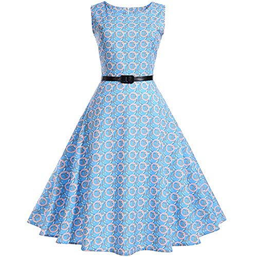 Plaid Print Vintage Dress Women Summer Floral Swing Party Dress 50s 60s Plus Size,Small,1024