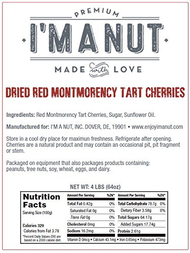 Dried Cherries 4 LB (=64oz) Resealable Bag, Tart (Sour) Montmorency Variety - /sweetened by I'm A Nut (Image #4)