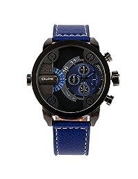 OULM Men's Blue Military Quartz Wrist Watch Leather Strap Sub Dial 2 Time Zone Rotate Time Water Resistant Japan Quartz + Box