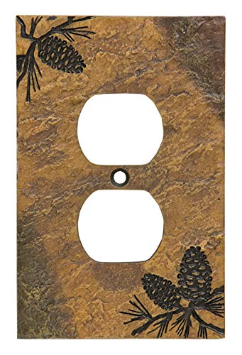 (Pinecone Rustic Hand-Cast Single Outlet Cover)