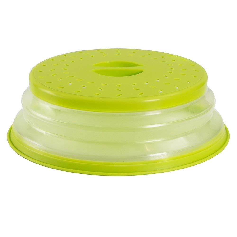Collapsible Microwave Plate Food Splatter Cover Colander Strainer Splatter for Fruit Vegetables BAP Free (Green)